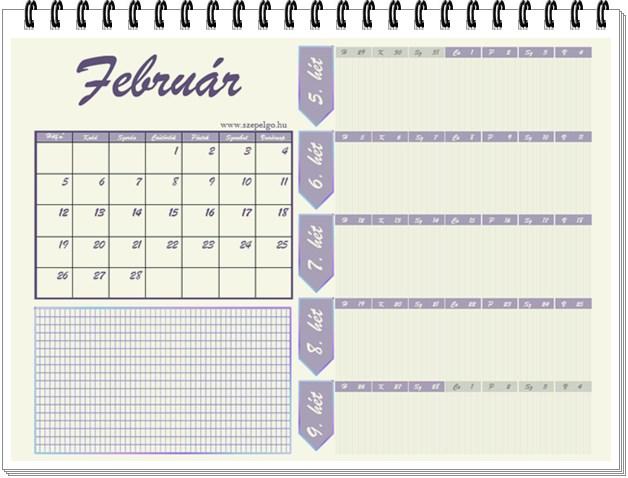 Havi tervezős naptár Februárra