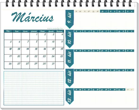 Havi tervezős naptár Márciusra