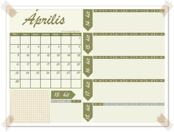 Havi tervezős naptár Áprilisra